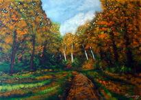 Westerwald, Weg, Herbst, Malerei