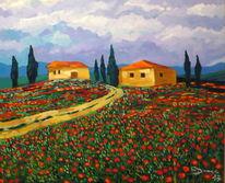 Toskana, Italien, Mohnfeld, Malerei