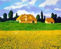 Ölmalerei, Reetdachhaus, Raps, Malerei