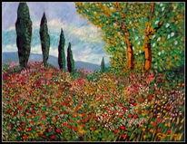Ölmalerei, Wiese, Provence, Malerei