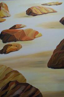 Stein, Ölmalerei, Strand, Farben