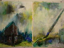 Malerei, Abstrakt, Heim, Pinsel