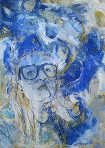 Weiß, Blau, Menschen, Brille