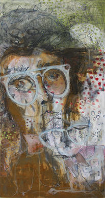 Brille, Korrosion, Mischtechnik, Acrylmalerei