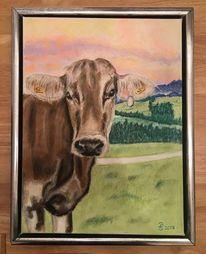 Landschaft, Pastellmalerei, Kuh, Sonnenuntergang