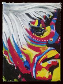 Malerei, Portrait, Frau, Acrylmalerei