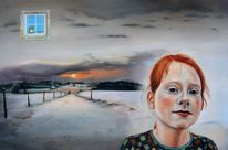 Weg, Realismus, Malerei, Wolken