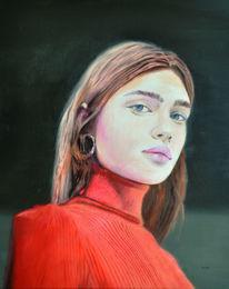 Schön, Rot, Ölmalerei, Frau