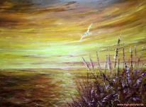 Ölmalerei, Sonnenuntergang, Gefühl, Malerei