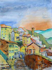 Italien, Abruzzen, Landschaft, Aquarellmalerei