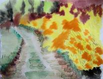 Frühling, Aquarellmalerei, Ginster, Eifel