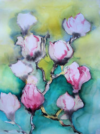 Baum, Frühling, Aquarellmalerei, Blüte