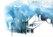 Himmel, Architektur, Paris, Aquarell