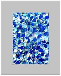 Farben, Mischtechnik, Abstrakt, Blau