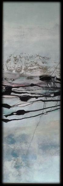Mischtechnik, Blau, Linie, Landschaft