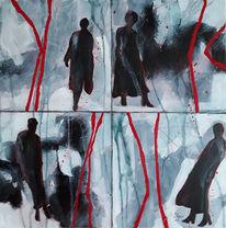 Menschen, Linie, Abstrakte malerei, Frau
