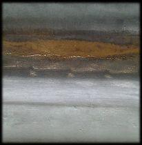 Abstrakte malerei, Pigmente, Gold, Abstrakte landschaft