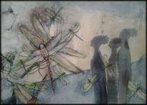 Menschen, Mischtechnik, Abstrakte malerei, Grün