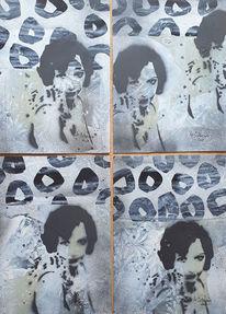 Abstrakte malerei, Beige, Grau, Portrait