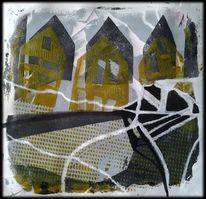 Linie, Gelb, Häuser, Schwarz
