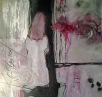 Abstrakte malerei, Mixed media, Frau, Rose