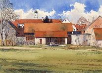 Dorf, Attenfeld, Kirche, Aquarell
