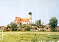 Storchennest, Burgheim, Donauebene, Aquarell