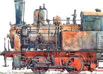 Rangierlok, Dampflokomotive, Aquarell,