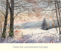 Winterwald, Weihnachten, Aquarell