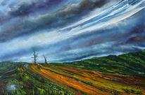 Wiese, Wolken, Feld, Malerei
