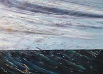 Meer, Wolken, Möwe, Malerei
