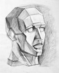 Schattierung, Kopf, Zeichnen, Kopf zeichnen