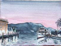 Lago di garda, Gardasee, Aquarell, Sommerabend