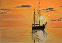 Abendlicht, Segelboot, Fernweh, Sonnenuntergang