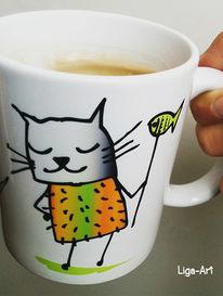 Katze, Tasse, Tiere, Fotografie