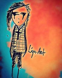 Zeichnung, Orange, Traurig, Tusche