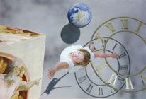 Fotorealismus, Uhr, Junge frau, Gott