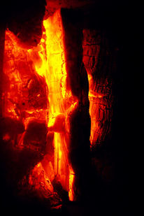 Feuer, Holz, Ofen, Glas