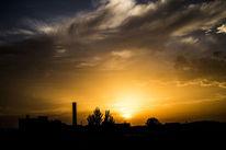Baum, Turm, Sonnenuntergang, Licht