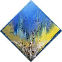 Gelb, Sprühdose, Rotwild, Tuschmalerei