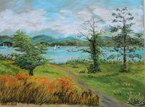 Sommer, Wasser, Pastellmalerei, Baum