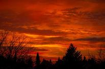 Abend, Wolken, Himmel, Rot