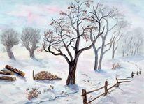 Bääume, Koppel, Weiden, Schnee