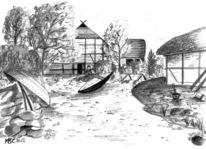 Bleistiftzeichnung, Ellerbek, Fischerdorf, Fischerhaus