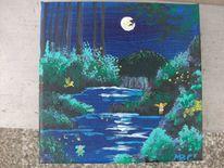 Nacht, Elfen, Mondlicht, Malerei