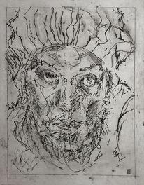 Mann, Radierung, Portrait, Druckgrafik