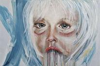 Kind, Portrait, Gesicht, Blau