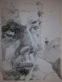 Tuschmalerei, Mann, Portrait, Zeichnungen