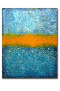 Landschaft, Orange, Blau, Abstrakt
