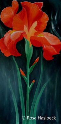 Malerei, Sommer, Acrylbild schwerlili, Blumenbild kunst
